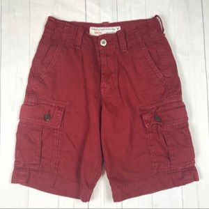 American Eagle Cargo Shorts Mens 26 Red Maroon